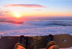 Sunset at ski-resort