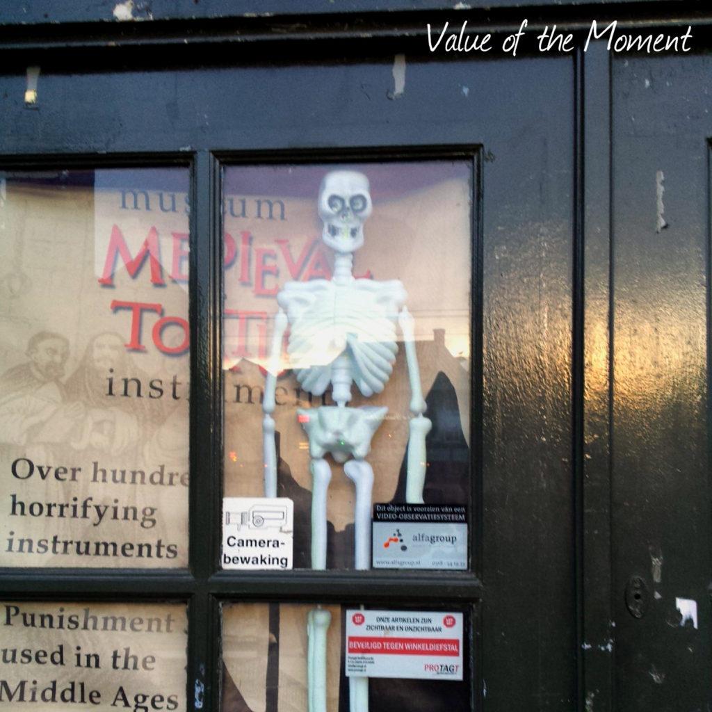 Skeleton in the shop, Amsterdam, Netherlands (Holland)
