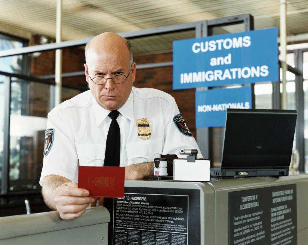 Passport control, customs officer